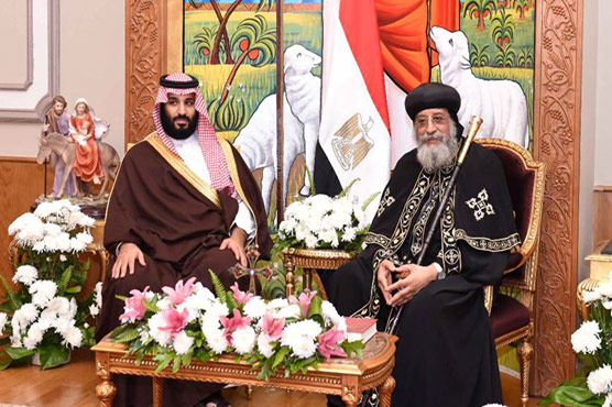 Saudi crown prince visits Cairo Coptic cathedral, meets pope