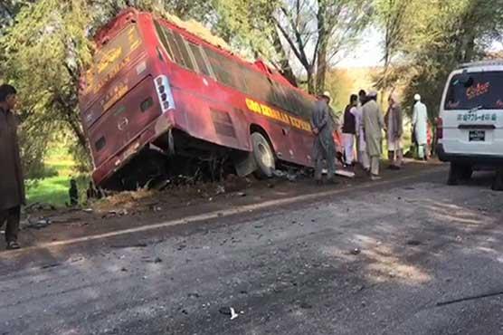 Three killed as speeding bus rams into car in Peshawar