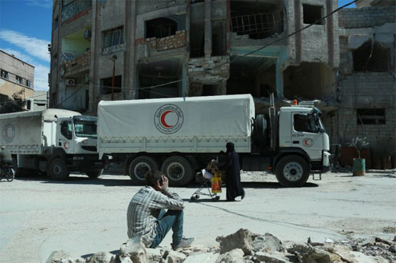 Aid convoy forced to halt operation in Syria's besieged Eastern Ghouta