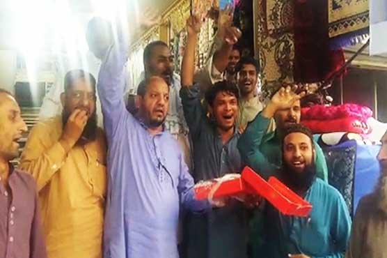 PML-N workers celebrate IHC verdict to suspend Sharifs' sentences