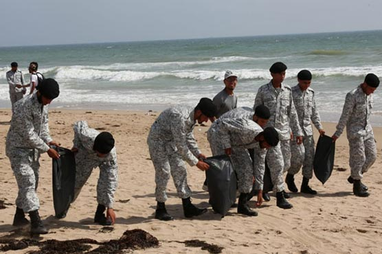 Pakistan Navy, Dow University conducts 'Tree Plantation and Beach Cleaning Activity'