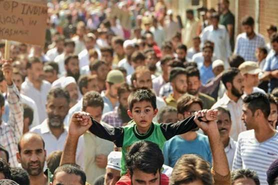 """کشمیر میں بھرپور احتجاج، پاکستان سے رشتہ کیا """"لا الہ الا اللہ"""" کے نعرے"""