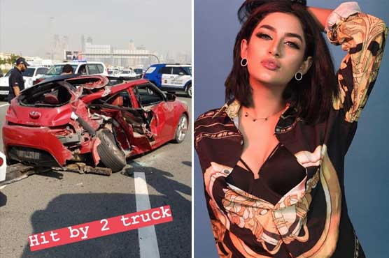 Mathira was travelling with a friend when her car was crushed by two trucks