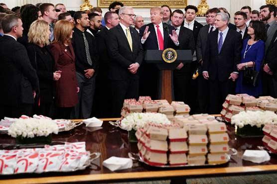 Trump celebrates North Dakota football champs with fast food