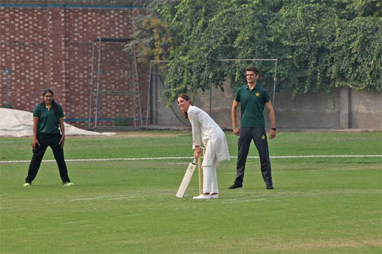 Duke and Duchess of Cambridge play cricket at NCA
