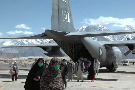 PAF C-130 aircraft carrying zaaireen from Dalbandin lands at Skardu