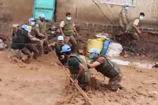 Pakistani Peacekeepers rescue over 2000 people stranded due to heavy floods in Congo