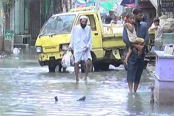 Rainwater still not drained out in most areas of Karachi