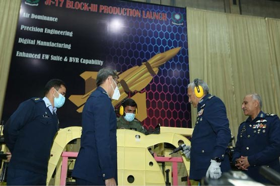 Air Chief inaugurates JF-17 Block-III production by installing first rivet