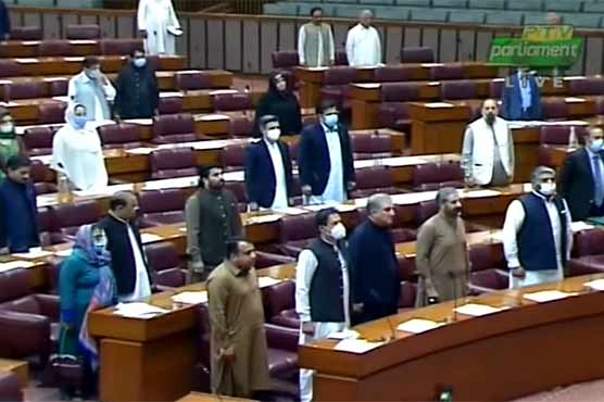 Opposition outcry denies PM Imran opportunity to address NA