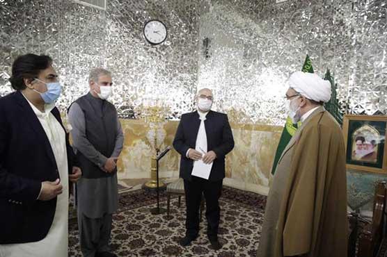 FM Qureshi pays respects at shrine of Imam Ali Raza (AS) in Mashhad