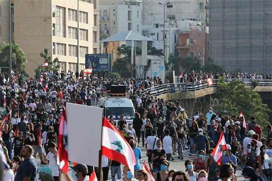 بیروت دھماکوں کو ایک برس مکمل ہو نے پر متاثرین کے مظاہرے