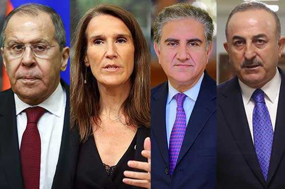 FM Qureshi, Russian, Turkish, Belgian counterparts discuss Afghan situation
