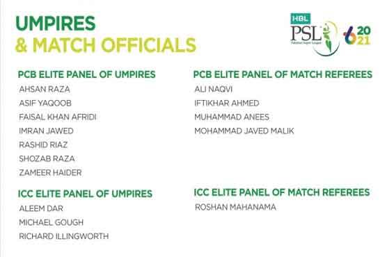 PCB announces match officials for PSL 6