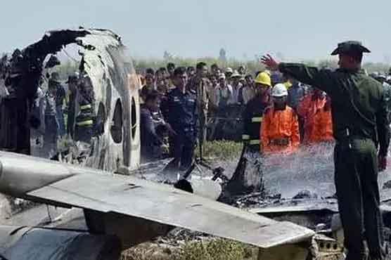 میانمار: طیارہ گر کر تباہ، 6 فوجیوں سمیت 13 افراد ہلاک