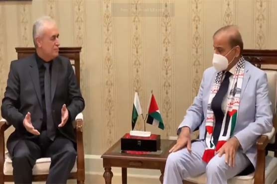 Shehbaz meets ambassador Ahmed Ameen Rabei, expresses solidarity with Palestinians