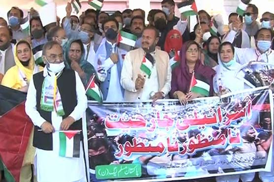PML-N holds protest rally outside Punjab Assembly against Israeli brutalities