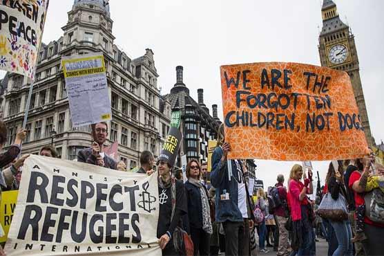 برطانیہ میں متنازع بل کیخلاف اور پناہ گزینوں کے حق میں بڑامظاہرہ