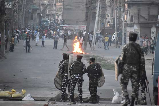 Clashes in Occupied Kashmir's downtown area