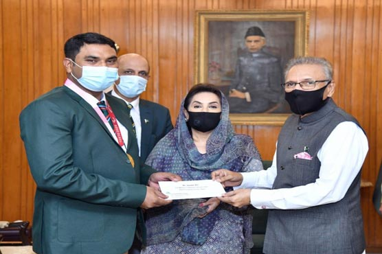 President greets Paralympics gold winner, awards Rs 2.5m cash prize